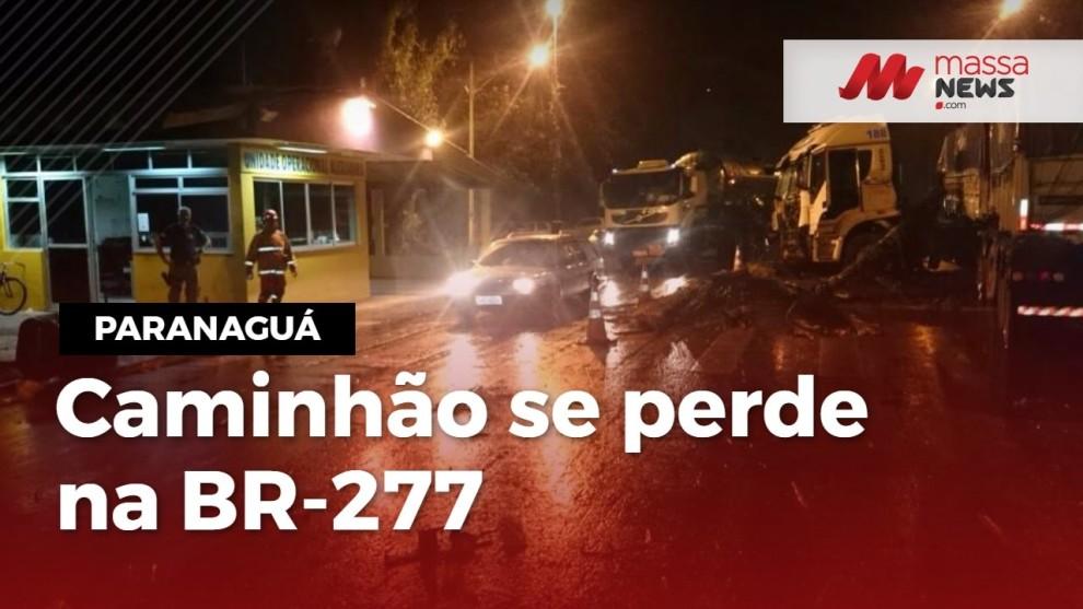Assista: Caminhão perde controle, atravessa BR-277 e para em frente a posto da PRF