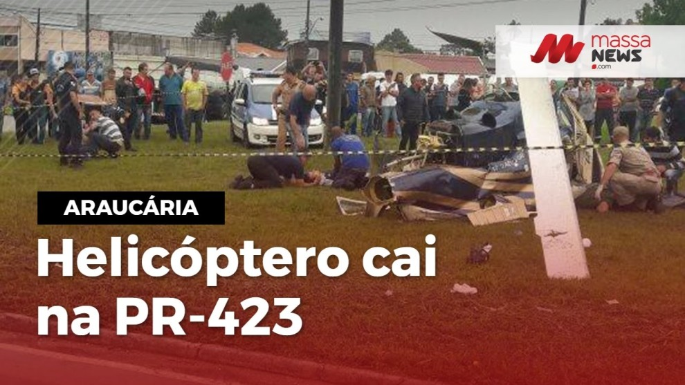 Assista:Helicóptero cai na PR-423 em Araucária